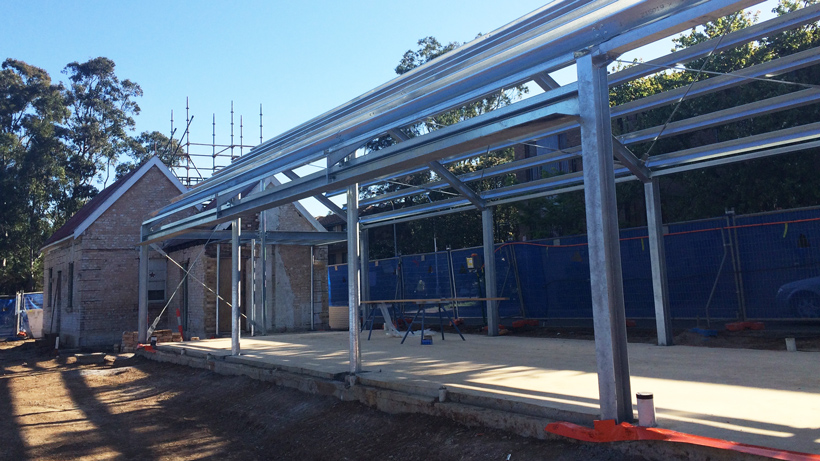 Steelwork for the Queen's Road Gatehouse has been erected on site